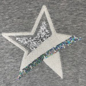 GAP KIDS Sparkle Hologram Star Fuzz Crew Pullover